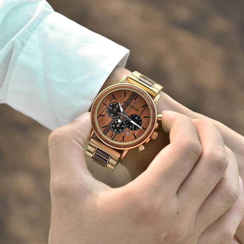 Classic Handmade Natural Rosewood Round Gold Chronograph Men's Wooden Watches - Sunlight Q26-2-13
