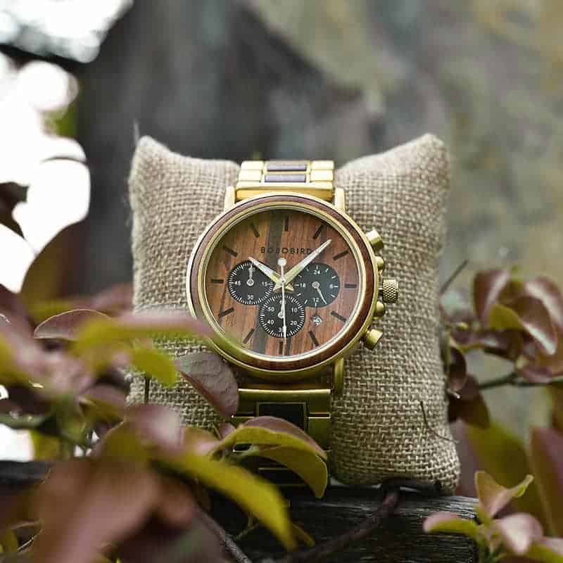Classic Handmade Natural Rosewood Round Gold Chronograph Men's Wooden Watches - Sunlight Q26-2-3