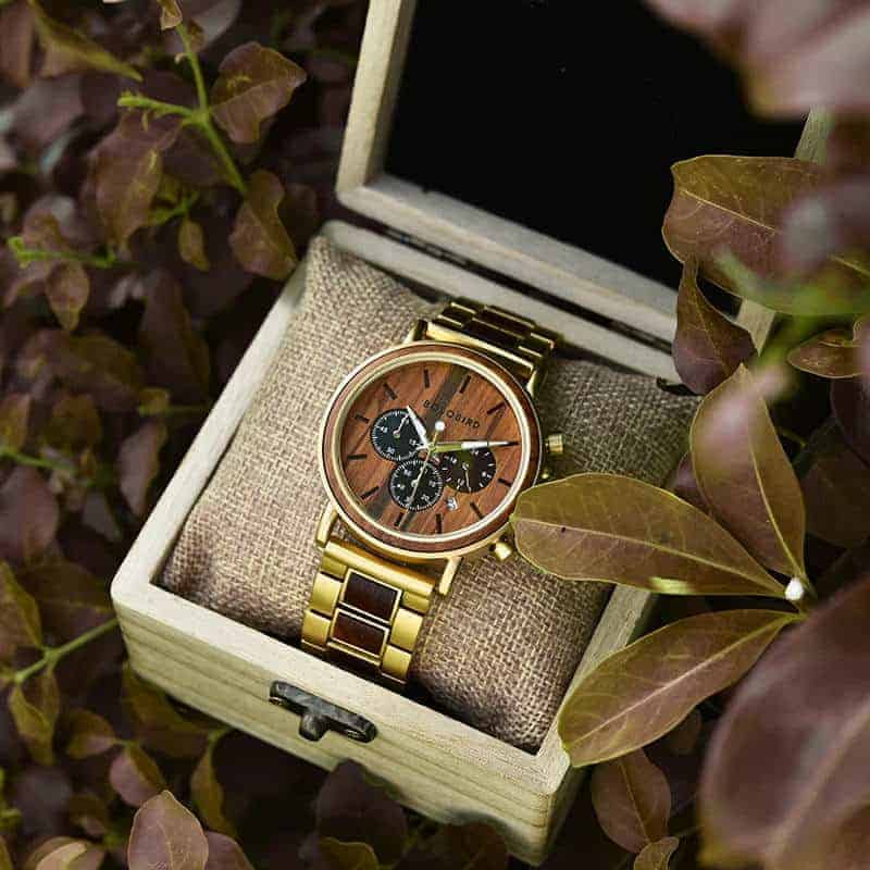 Classic Handmade Natural Rosewood Round Gold Chronograph Men's Wooden Watches - Sunlight
