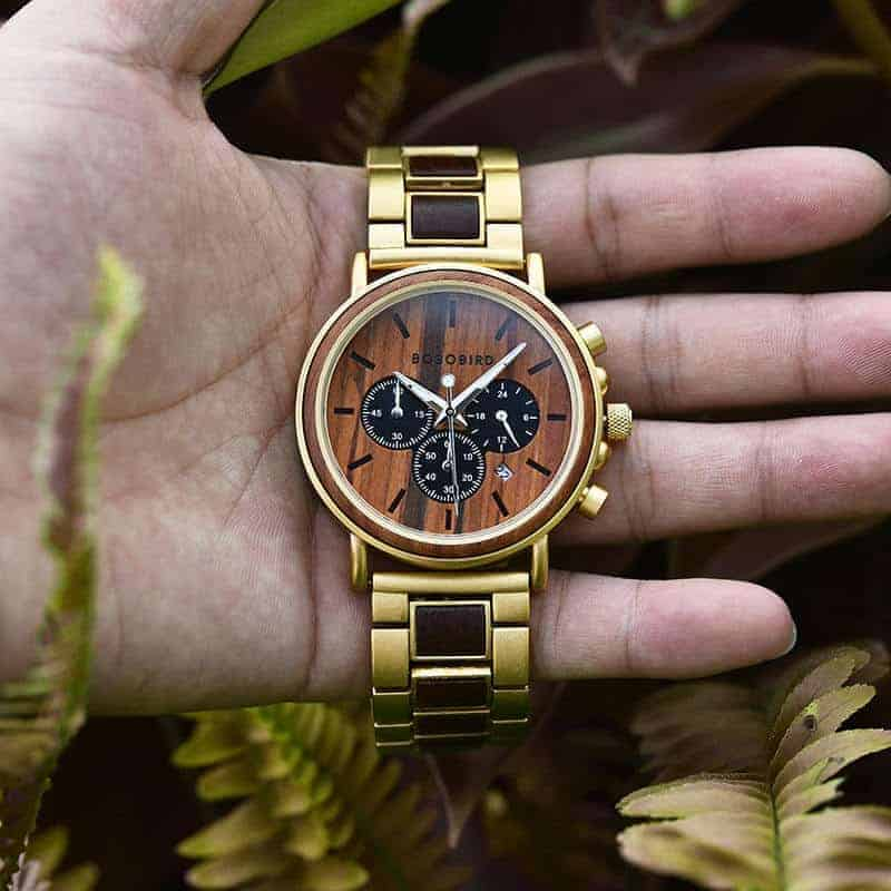 Classic Handmade Natural Rosewood Round Gold Chronograph Men's Wooden Watches - Sunlight Q26-2-7