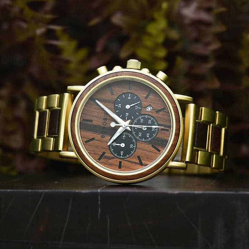 Classic Handmade Natural Rosewood Round Gold Chronograph Men's Wooden Watches - Sunlight Q26-2-9