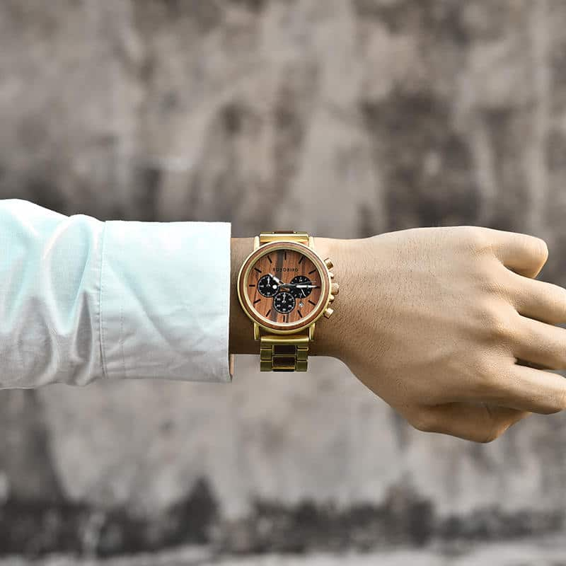 Classic Handmade Natural Rosewood Round Gold Chronograph Men's Wooden Watches - Sunlight Q26-2