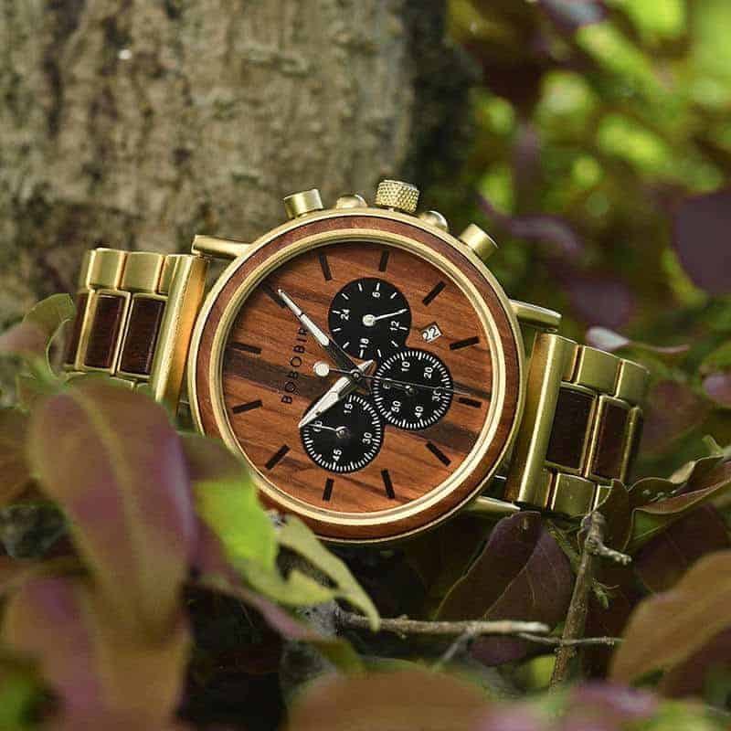 Classic Handmade Natural Rosewood Round Gold Chronograph Men's Wooden Watches - Sunlight Q26-22