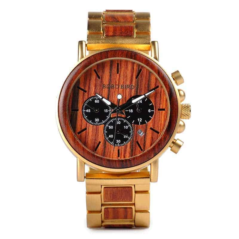 Engraved Wrist Watch for Men with Wood Q26-2-4