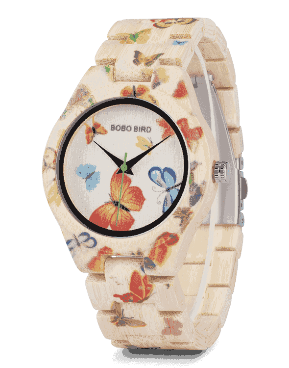 Ladies Bamboo Wood Watch Painting Butterfly Quartz Watches O20