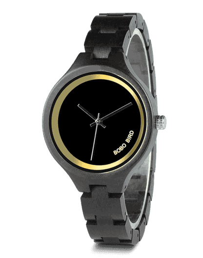 At 4 o'clock Slant LOGO Wooden Band Exquisite Quartz Wood Watches P16-1