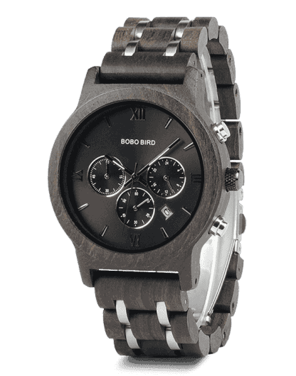 Crafted Chronograph Calendar Display Wood Watches P19-1