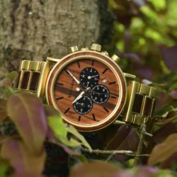 Personalized Gift Rosewood Round Gold Chronograph Men's Wooden Watches - Sunlight Q26-2
