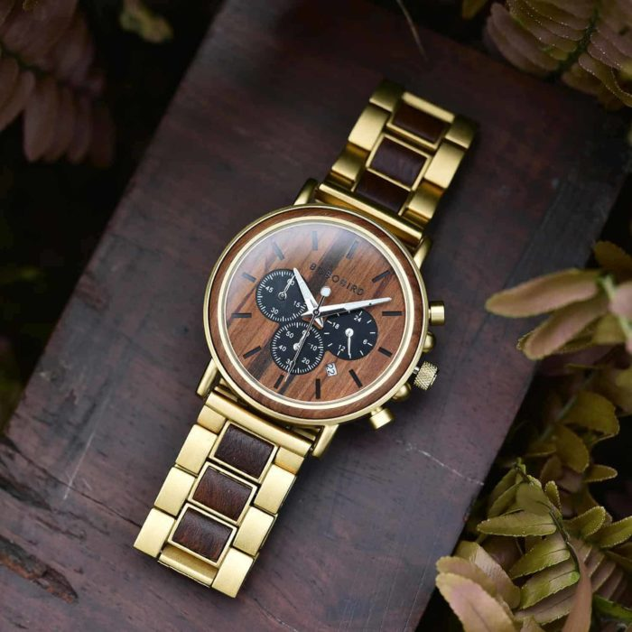 Personalized Gift Rosewood Round Gold Chronograph Men's Wooden Watches - Sunlight