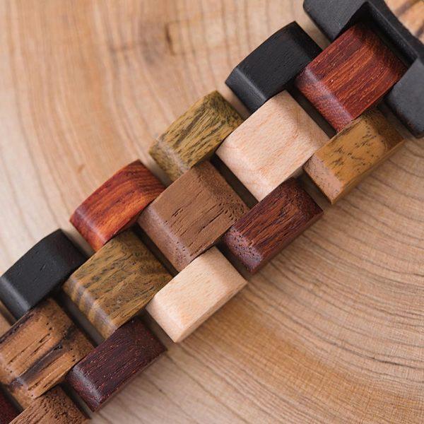 Week and Date Multi-Functional Display Handmade Zebra Wooden Watch P14-4