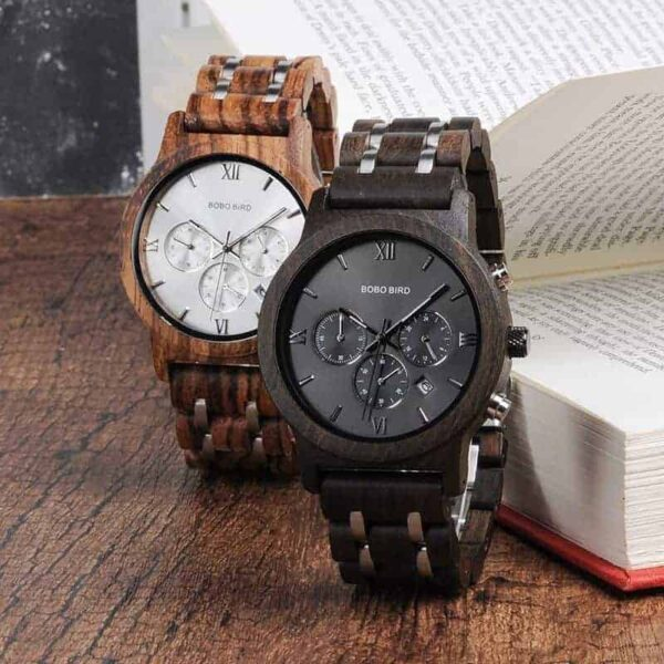 Quartz Wooden Watches - Crafted Chronograph Calendar Display P19-2