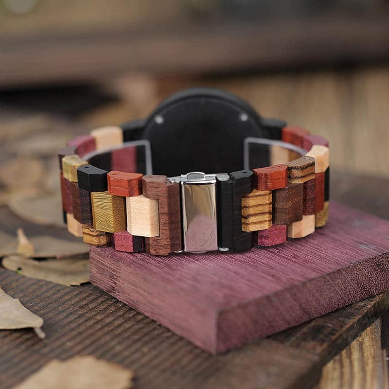 wooden watches for men Rainbow - Colored wood P14-1-1