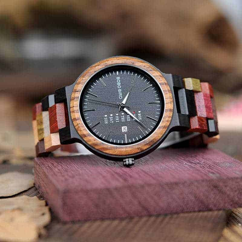 wooden watches for men Rainbow - Colored wood P14-1-2