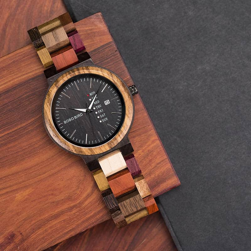 wooden watches for men Rainbow - Colored wood P14-1-3
