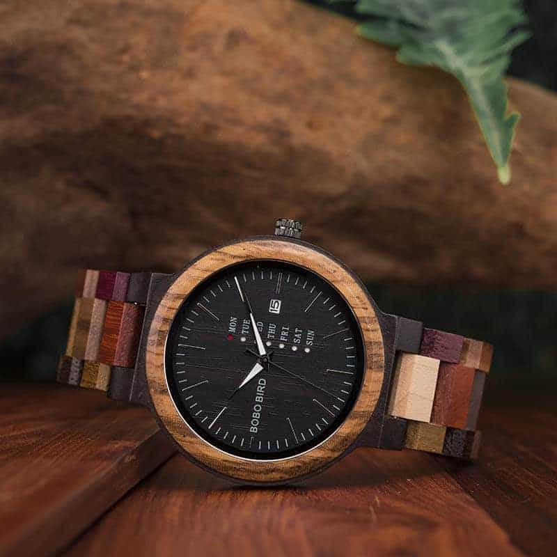 wooden watches for men Rainbow - Colored wood P14-1-4