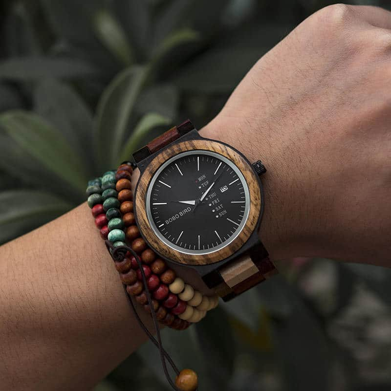 wooden watches for men Rainbow - Colored wood P14-1-7