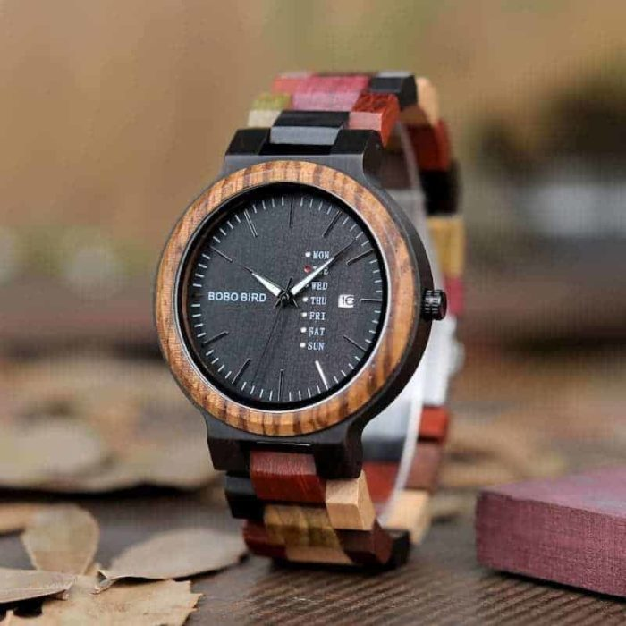 wooden watches for men Rainbow - Colored wood P14-1