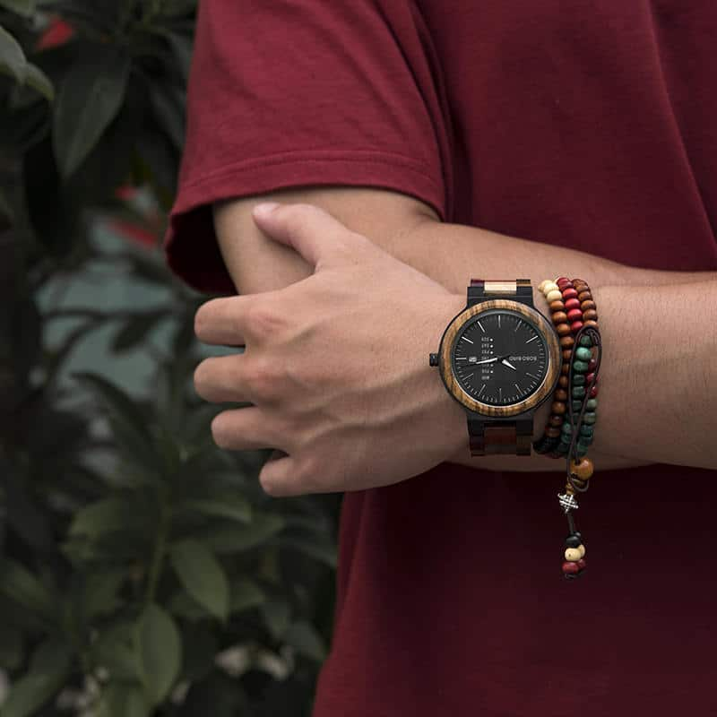 wooden watches for men Rainbow - Colored wood P14-1-8