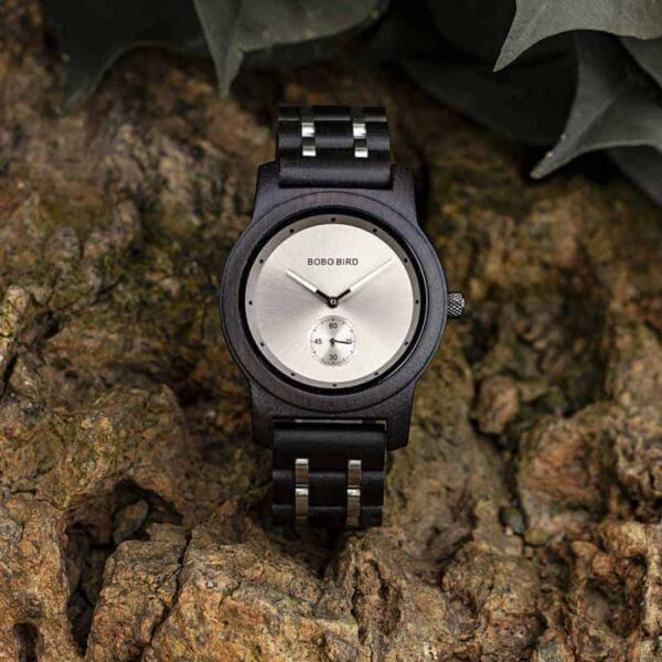 Men's Ebony wood Stainless Steel Watch Chronograph Quartz Japanese Movement Wood Watch Q18-1