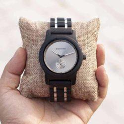 Men's Ebony wood Stainless Steel Watch Chronograph Quartz Japanese Movement Wood Watch Q18-1-