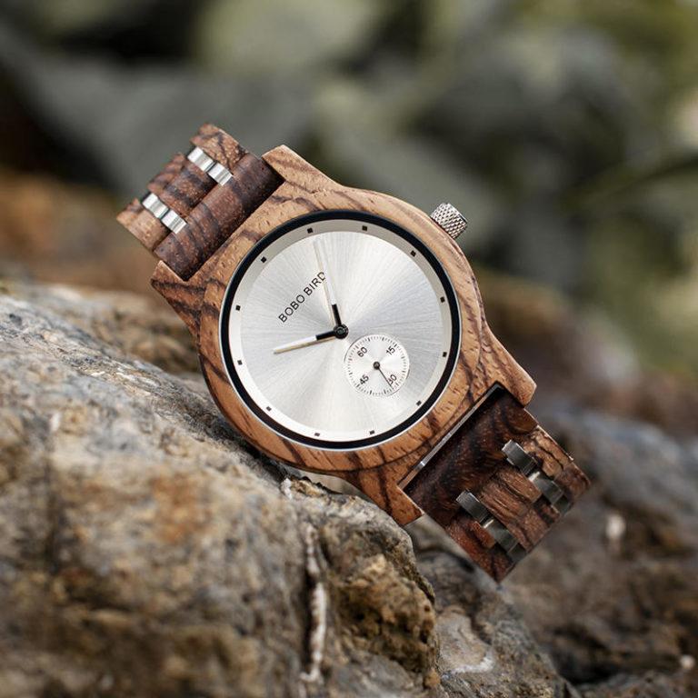 Men's Zebrawood Stainless Steel Watch Chronograph Quartz Japanese Movement wood Watch P18-2