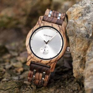 Men's Zebrawood Stainless Steel Watch Chronograph Quartz Japanese Movement wood Watch P18-1-3
