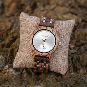 Men's Zebrawood Stainless Steel Watch Chronograph Quartz Japanese Movement Wood Watch Q18-2