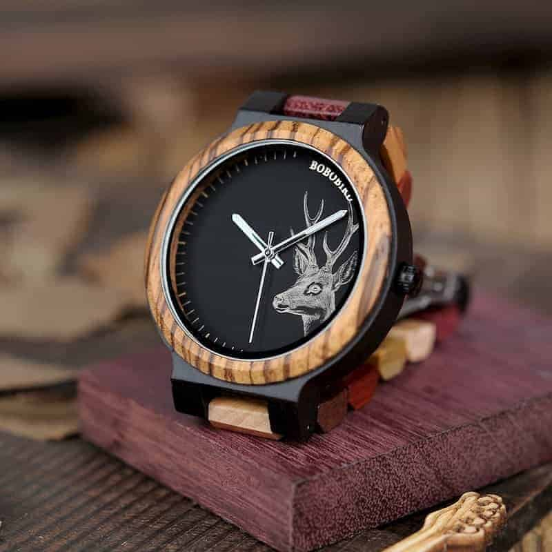 bobo bird wooden watches for men Rainbow - Colored wood P14-2-2