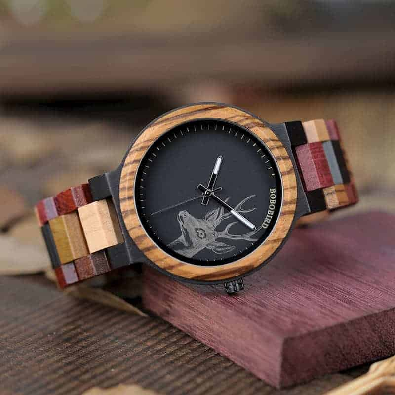 bobo bird wooden watches for men Rainbow - Colored wood P14-2-4