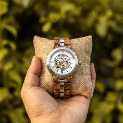 Luxury Handmade Natural Zebra Wood Automatic Mechanical Movement Men's Wooden Watches - General Q29-2