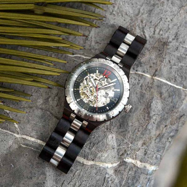 Luxury Handmade Natural Ebony Wood Automatic Mechanical Movement Men's Wooden Watches - General Q29-1