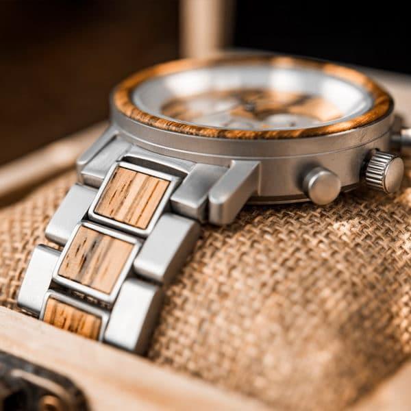 Men's Zebra Wooden Silver Stainless Steel Quartz Chronograph Watch - Ralph R01-4