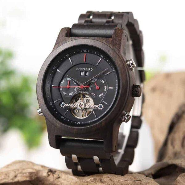 Luxury Mechanical Multifunction Business Wood Watch Q27-1