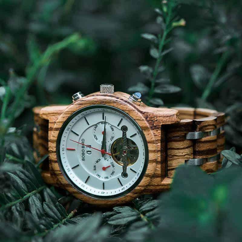 Luxury Mechanical Multifunctional Business Wooden Watches Q27-2-1