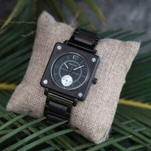 Men's Natural Wooden Watches Square Dial Chrono Luxury Quartz Personalized Wood Watch R14-1
