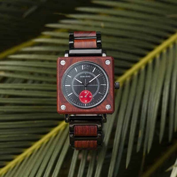 Men's Natural Wooden Watches Square Dial Chrono Luxury Quartz Personalized Wood Watch R14-2