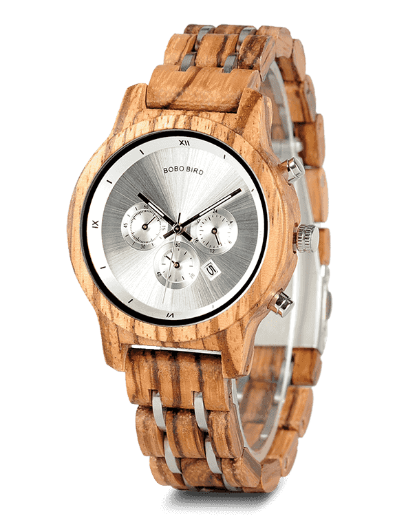 Wood Metal Strap Combined Chronograph & Date Display Casual Watches P18-2