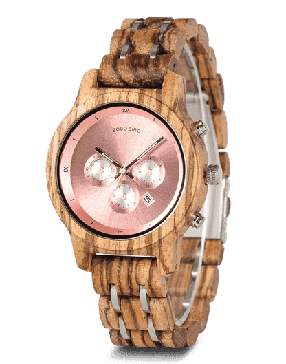 Wood Metal Strap Combined Chronograph & Date Display Casual Watches P18-3