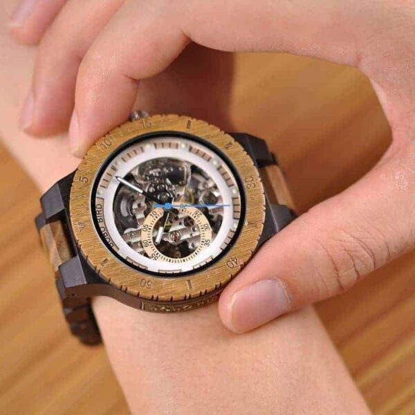 Best Automatic Mechanical Wood Watches for Men R05-1