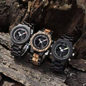 Wooden Watches for Men Dual Display Quartz Watch for Men LED Digital Army Military Sport Wristwatch P02-3