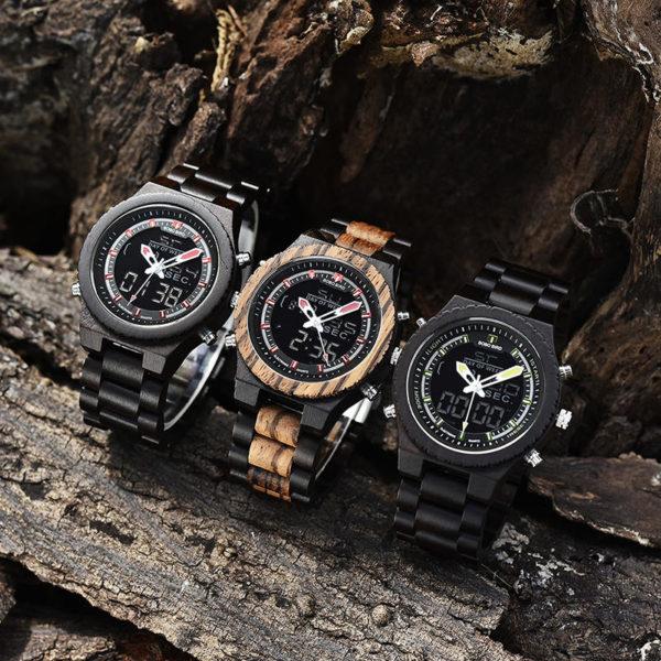 Dual Display Quartz Watch for Men LED Digital Army Military Sport Wristwatch P02-3