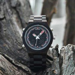 Wooden Watches for Men Ebony Wood Dual Display Quartz Watch for Men LED Digital Army Military Sport Wristwatch P02-1