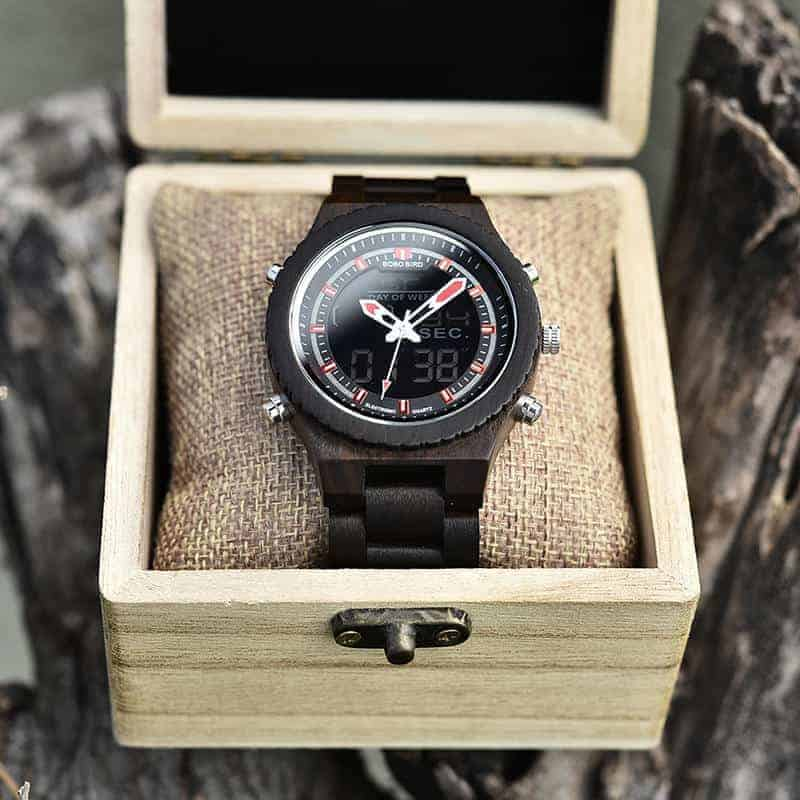 Wooden Watches for Men Ebony Wood Dual Display Quartz Watch for Men LED Digital Army Military Sport Wristwatch P02-1-3