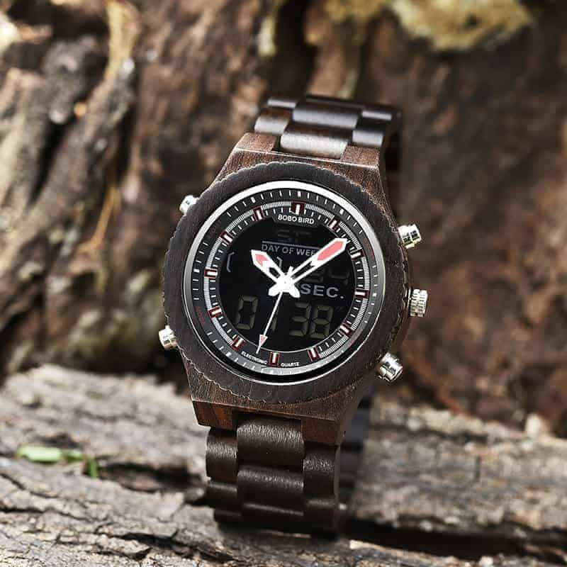 Wooden Watches for Men Ebony Wood Dual Display Quartz Watch for Men LED Digital Army Military Sport Wristwatch P02-1-5
