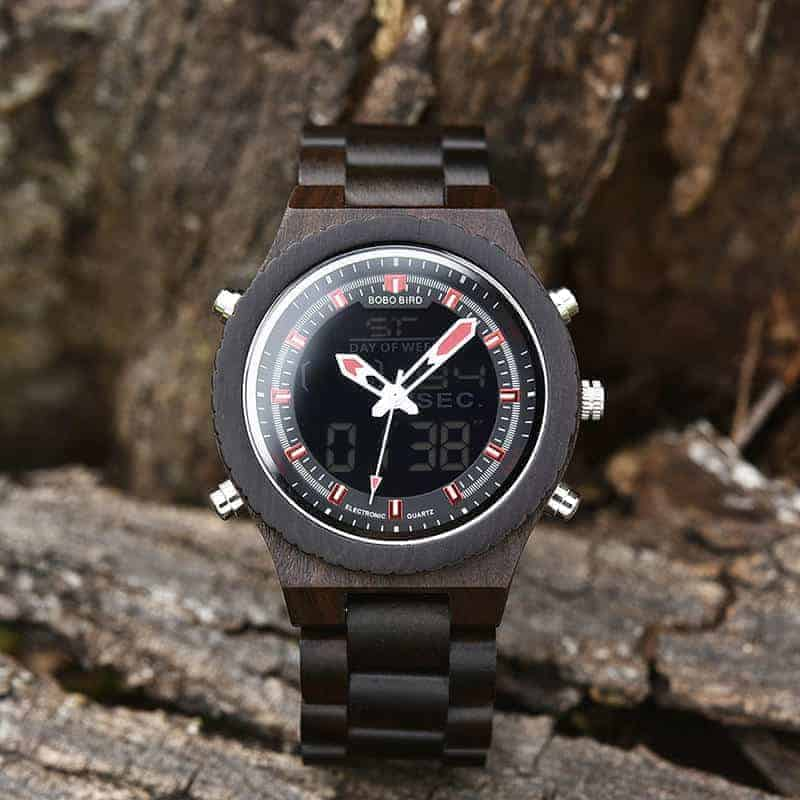 Wooden Watches for Men Ebony Wood Dual Display Quartz Watch for Men LED Digital Army Military Sport Wristwatch P02-1-7