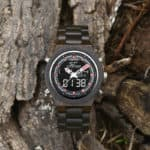 Wooden Watches for Men Ebony Wood Dual Display Quartz Watch for Men LED Digital Army Military Sport Wristwatch P02-1-8