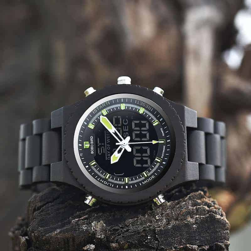 Wooden Watches for Men Ebony Wood Dual Display Quartz Watch for Men LED Digital Army Military Sport Wristwatch P02-2-1