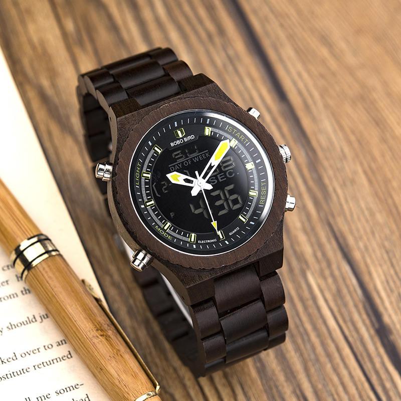 Wooden Watches for Men Ebony Wood Dual Display Quartz Watch for Men LED Digital Army Military Sport Wristwatch P02-2-11