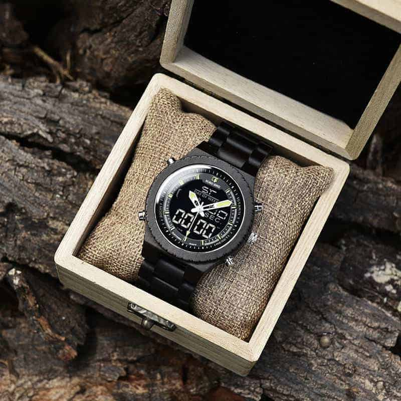 Wooden Watches for Men Ebony Wood Dual Display Quartz Watch for Men LED Digital Army Military Sport Wristwatch P02-2-3