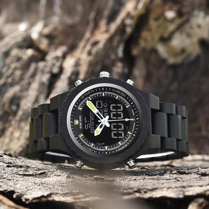 Wooden Watches for Men Ebony Wood Dual Display Quartz Watch for Men LED Digital Army Military Sport Wristwatch P02-2-4